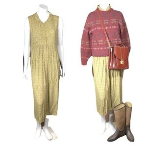 Vintage April Cornell Golden Brown Button Up Sleeveless Collared Maxi Dress Sz S